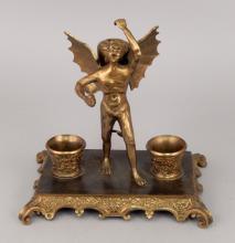 Brass Devil oil cigar lighter and match holder