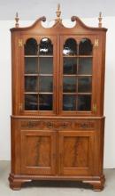 Burled cherry corner cabinet