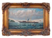American School oil on canvas, Flat bottom boat at sea