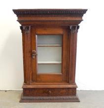 Oak glass door cabinet