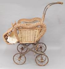 Victorian wicker doll stroller