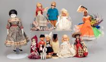 Grouping of foreign dolls and Nancy Ann Storybook dolls