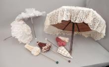 Grouping of vintage doll parasols