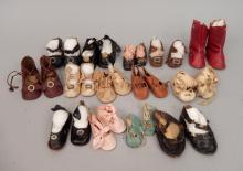 Grouping of antique doll shoes