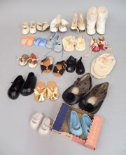 Grouping of vintage and antique doll shoes