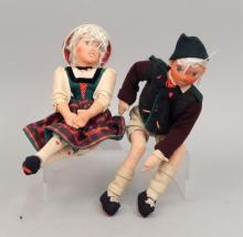 Pair of 1940's Ilse Ludecke cloth dolls