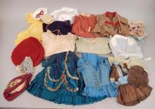 Grouping of antique doll and French Fashion clothes