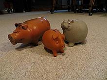 3 Ceramic Animal Coin Banks