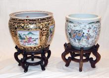 QING DYNASTY COURT YARD SCENE PLANTER FIGURAL PAINTING PLANTER