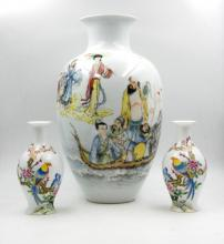 PAIR OF FAMILLE ROSE VASES EIGHT IMMORTALS PORCELAIN VASE
