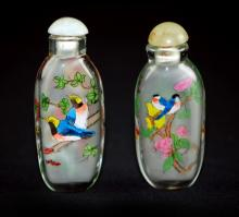 PAIR OF GLASS SNUFF BOTTLES