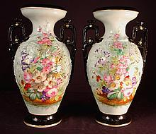Pair of Old Paris vases with multiple flowers, in excellent condition, 15in. T, 9in. W.