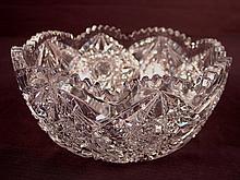 Brilliant cut glass bowl, 4in. T, 9in. Dia.