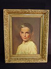Oil on canvas of boy in Victorian frame, 23 x 19, signed M B Price.