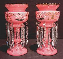 Pair of large pink cased glass lusters with double row of prisms, 15in. T, 7in. W.