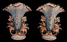 Pair of elegant Old Paris porcelain vases, ca. 1750 - 1900 , 12in. T, 9in. W, powder blue color.
