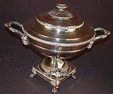 Old Sheffield plate tea urn with reservoir for hot coals, ornate silver work with gadrooning, animal feet, ivory handle lever, ca. 1825, 15in. T, 18in. W.