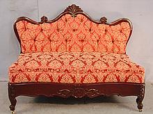 Slipper sofa, ca. 1860, 33in. T, 42in. W, 18in. D.