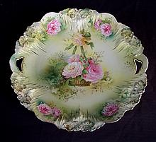 RS Prussia plate with roses in basket, 10in. Dia.