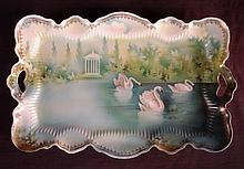 RS Prussia plate with swans, 12in. L.