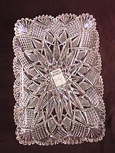 Cut glass tray, 12in. L, 8in. W.