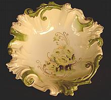 RS Prussia bowl, white and green with wild flowers, 3in. ?T, 12in. Dia.