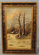 Oil on canvas of winter scene by Ramey