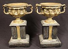 Pair bronze urns on marble base