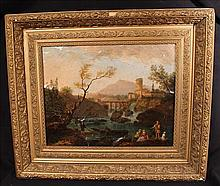 Oil on canvas of country and castle scene