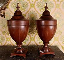 Inlaid  mahogany knife urns, Adams style