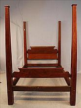 Empire mahogany full tester bed, roll headboard