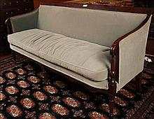 Mahogany Sheraton sofa with 6 legs