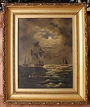 Victorian oil on canvas of ships in moonlight