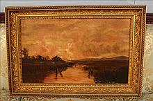 Oil on canvas, landscape scene at sunset