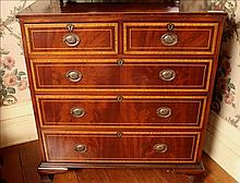 Sheraton style inlaid mahogany 5 drawer chest