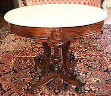 Rosewood Victorian oval marble top table