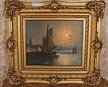 Victorian oil on canvas of boats by L. Marco