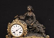 French bronze mantle clock with figures