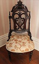 Mahogany Victorian chair with pierced back