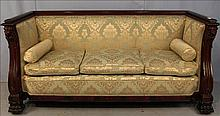 Mahogany Empire library sofa with cupids