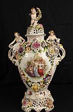 Hand painted Dresden 3 piece capped urn
