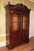 2 door mahogany rococo bookcase, ca. 1850