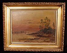 Oil on canvas of landscape, signed Webb
