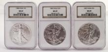 Slabbed Silver Eagle Lot - MS 69 - 1987, 1988, 1989