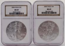 Slabbed Silver Eagle Lot - MS 69 - 2004, 2005