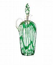 A Victorian silver-mounted green-overlaid glass decanter and stopper, Hukin &  Heath, Birmingham, 1900, Rd 36652