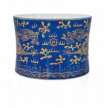 A ;Chinese powder-blue and gilt brush pot,  Bitong,  Qing Dynasty, late 19th century