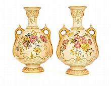 A pair of Royal Worcester two-handled vases, 1902, Rd 178444