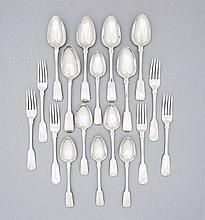 An part set of Cape silver Fiddle pattern flatware, Lawrence Holme Twentyman, first half 19th century