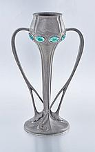A Liberty pewter and enamelled two-handled vase, designed by Archibald Knox, circa 1910, No. 029
